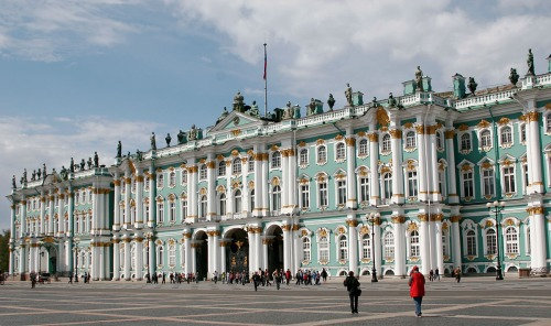 The Winter Palace, also called The Hermitage, houses a huge number of pieces of Western art. In front of the palace is Palace Square, site of the 1905 Bloody Sunday Massacre.